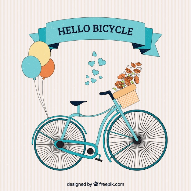 Hand drawn cute bicycle with balloons\ background
