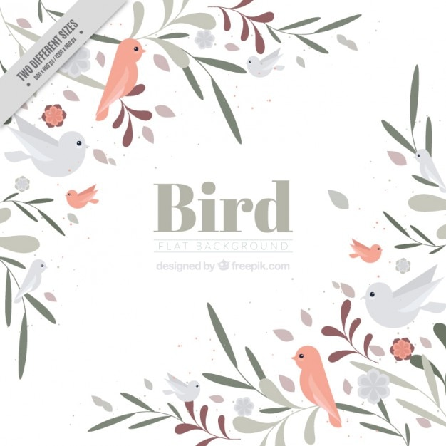 Hand drawn cute birds and leaves background in\ vintage style