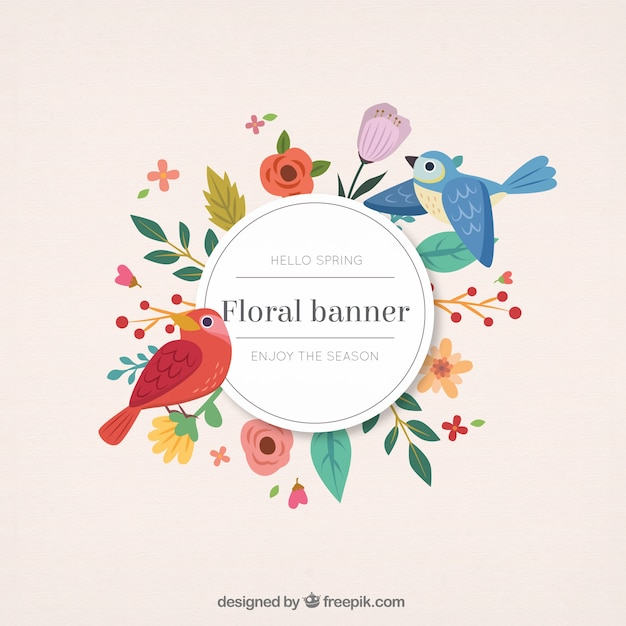 Hand drawn cute birds with floral banner Premium Vector