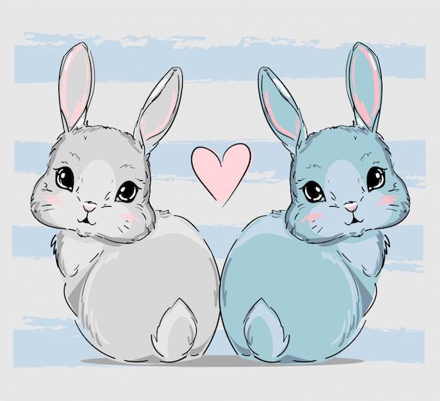 Рисованная пара милых зайчиков, рисунок с рисунком кроликов и розовое сердце, детский принт на футболке. Premium векторы