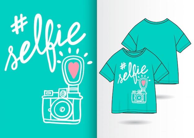 Hand drawn cute camera illustration with t shirt design Premium Vector