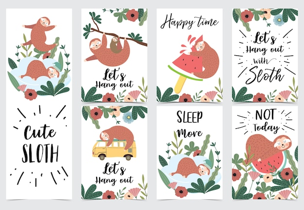 Hand drawn cute card with sloth Premium Vector