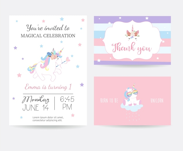 Hand drawn cute card with unicorn head and glasses Premium Vector