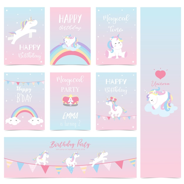 Hand drawn cute card with unicorn Premium Vector