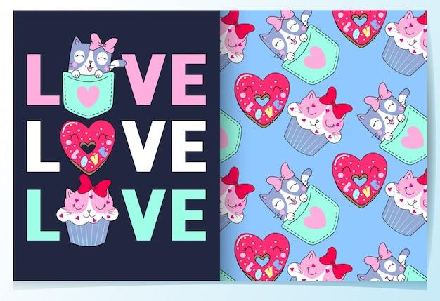 Hand drawn cute cat, donut & cupcake pattern set Premium Vector