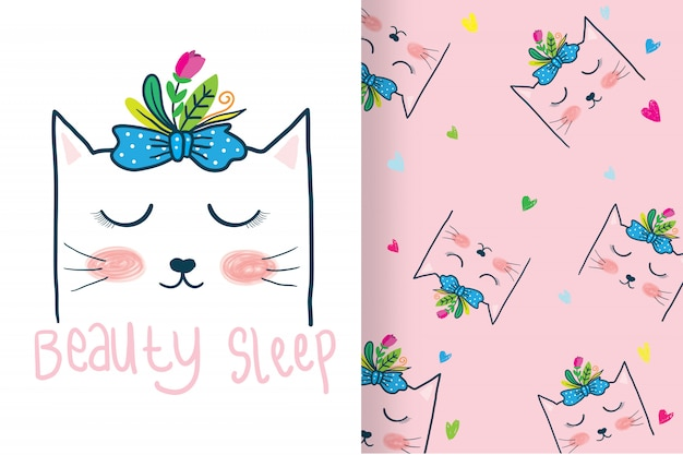Hand drawn cute cat head with pattern Premium Vector