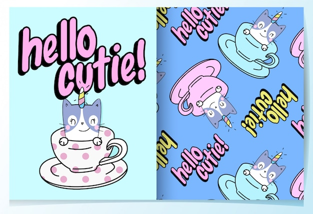 Hand drawn cute cat pattern set Premium Vector