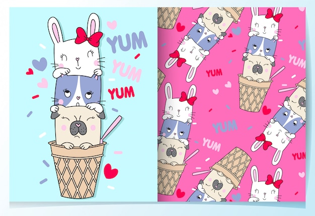 Hand drawn cute cat,rabbit & pug pattern set Premium Vector