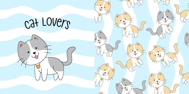 Hand drawn cute cat seamless pattern Premium Vector