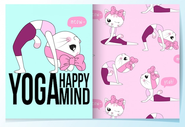 Hand drawn cute cat with yoga poses pattern set Premium Vector