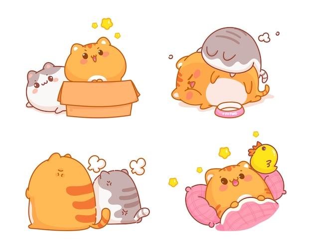 손으로 그린 귀여운 고양이 컬렉션 만화 그림 무료 벡터