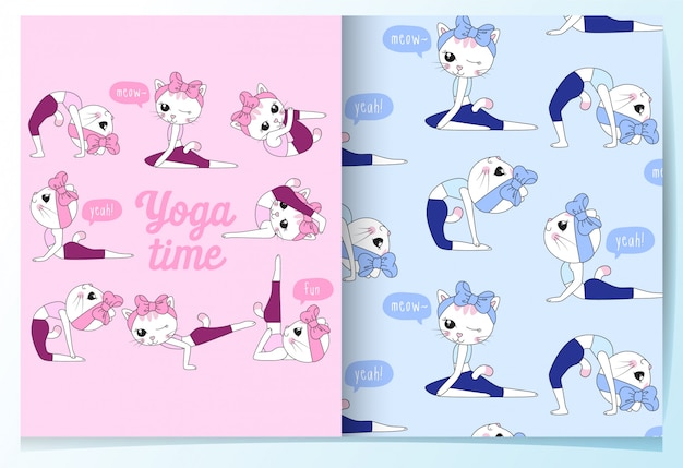 Hand drawn cute cats with yoga poses pattern set Premium Vector