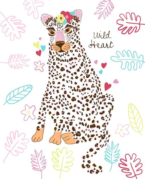 Hand drawn cute cheetah vector design for t shirt printing Premium Vector