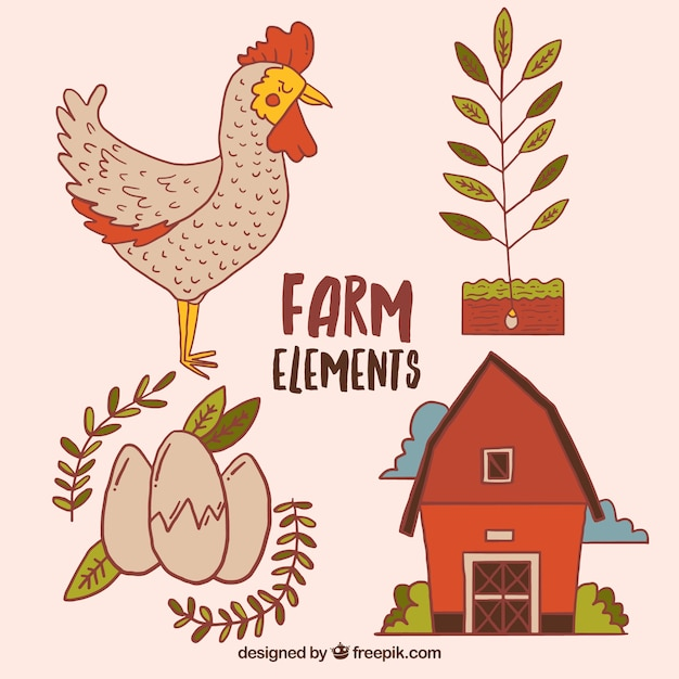 Hand drawn cute chicken with farm elements