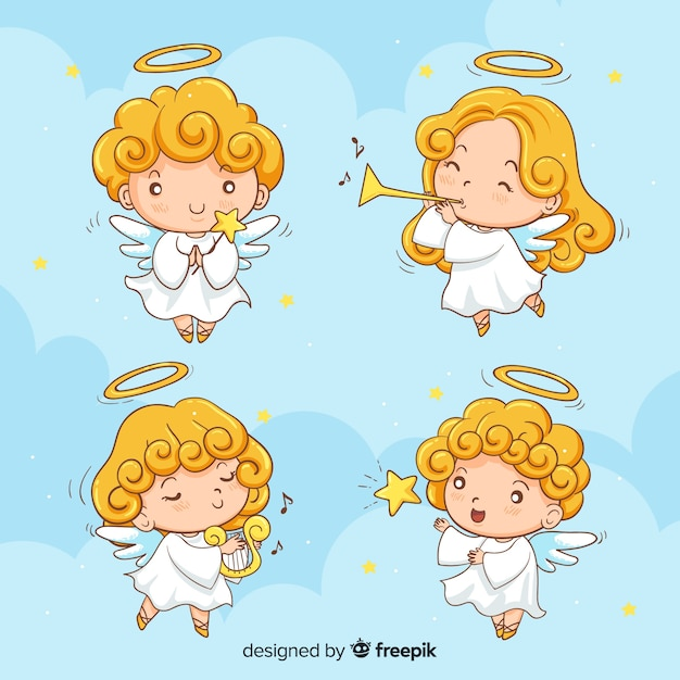 Hand drawn cute christmas' angel collection Free Vector