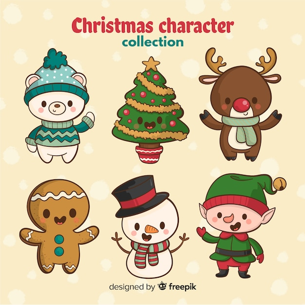 Hand drawn cute christmas character Free Vector