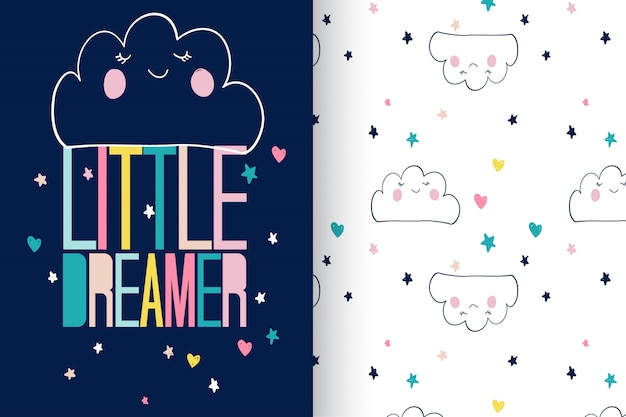 Hand drawn cute cloud with pattern vector set Premium Vector