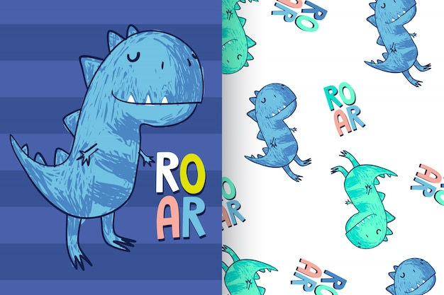 Hand drawn cute dinosaur with pattern set Premium Vector