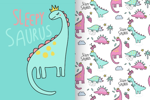 Hand drawn cute dinosaur with pattern vector set Premium Vector