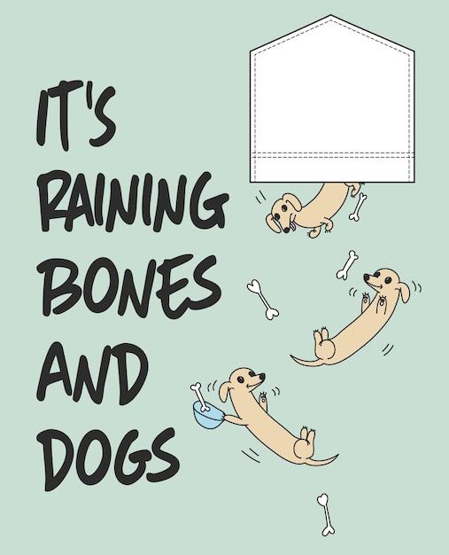 Hand drawn cute dog vector design for t shirt printing Premium Vector
