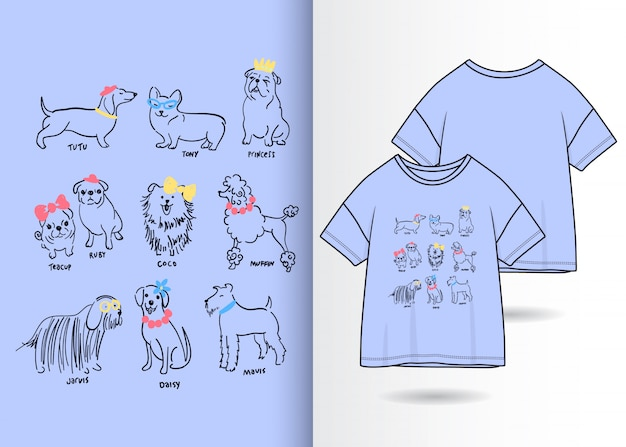 Hand drawn cute dogs illustration with t shirt design Premium Vector