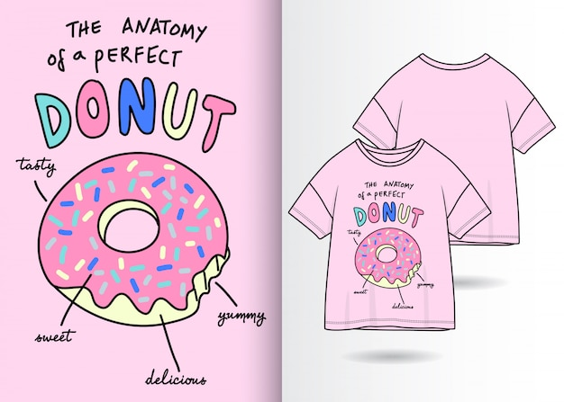 Hand drawn cute donut illustration with t shirt design Premium Vector