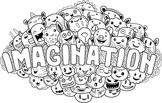 Hand drawn of cute doodle monster imagination Premium Vector