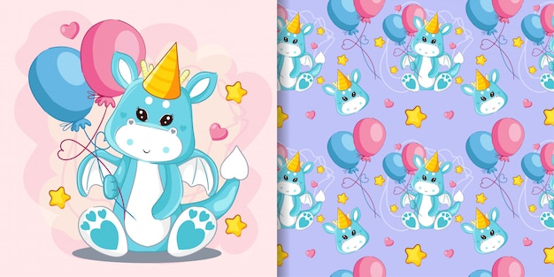 Hand drawn cute dragon and balloons with pattern set Premium Vector