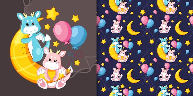 Hand drawn cute dragon on the moon with pattern set Premium Vector