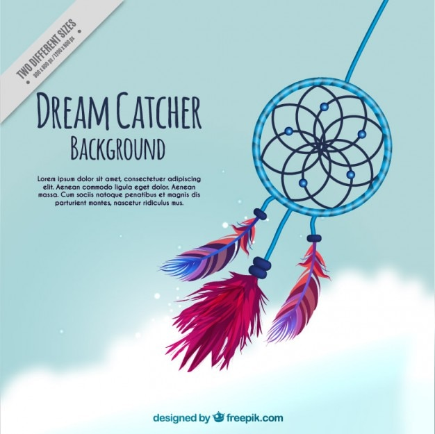 Hand drawn cute dream catcher background Free Vector
