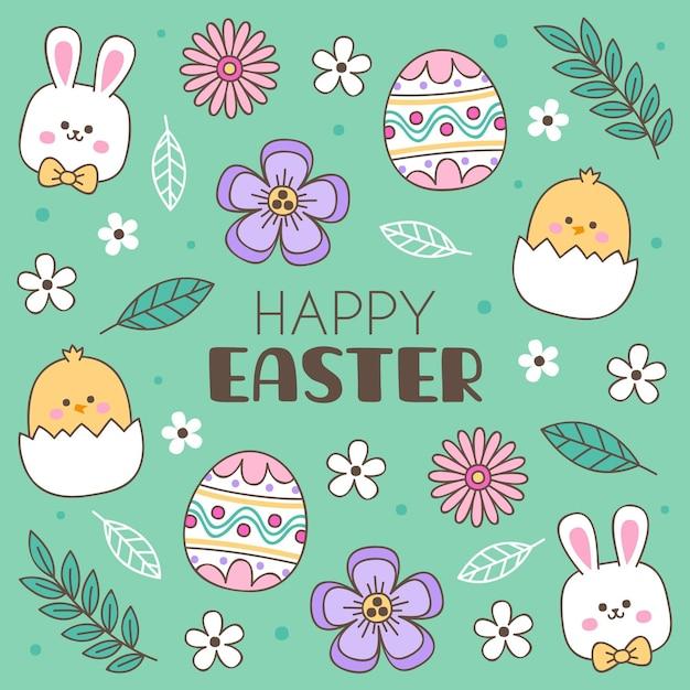 손으로 그린 토끼와 귀여운 부활절 그림 무료 벡터
