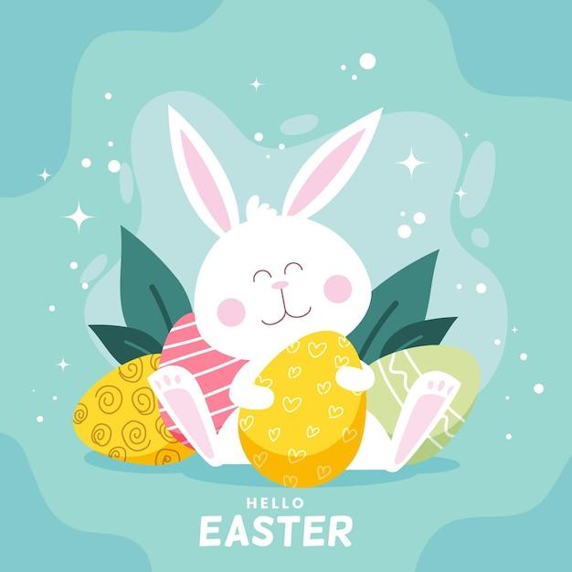 Нарисованная рукой милая пасхальная иллюстрация с кроликом Бесплатные векторы