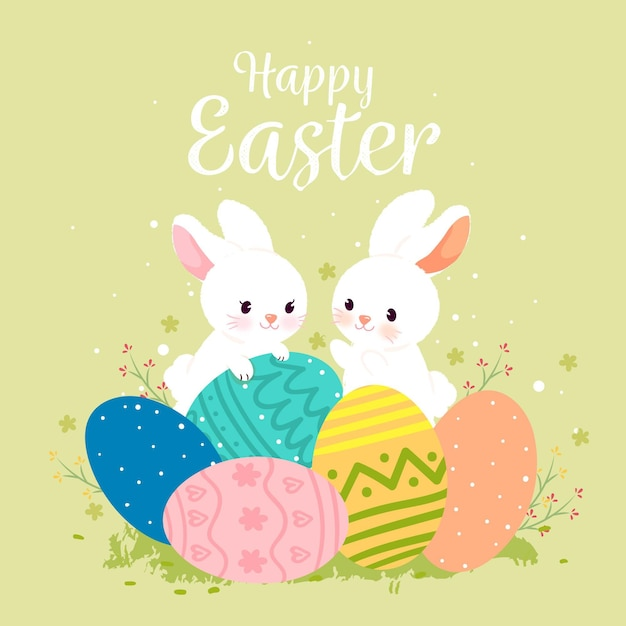 Hand drawn cute easter illustration Free Vector