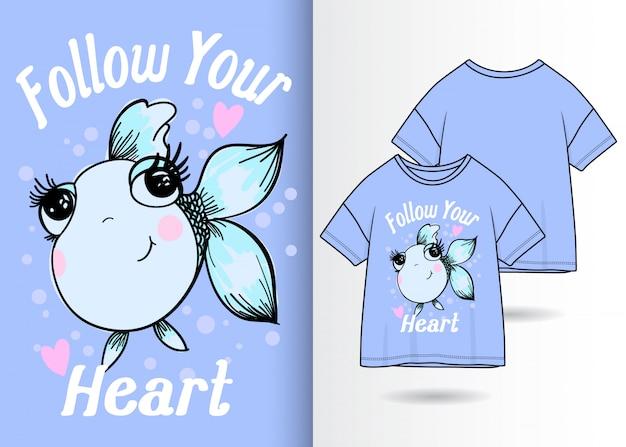 Hand drawn cute fish illustration with t shirt design Premium Vector
