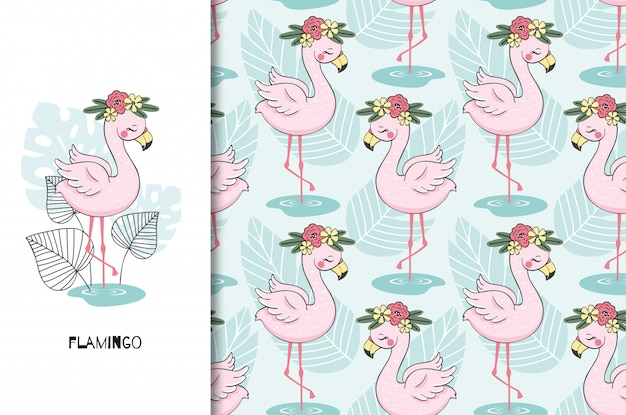 Hand drawn cute flamingo bird character. poster and seamless pattern set. cartoon style Premium Vector