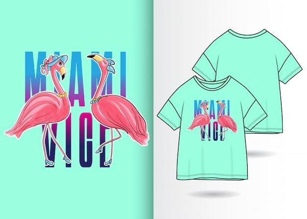 20f1a0087 Hand drawn cute flamingo illustration with t shirt design Premium Vector