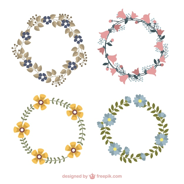 Hand Drawn Cute Floral Wreaths With Different Flowers Free Vector