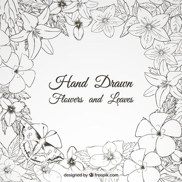 Hand drawn cute flowers frame