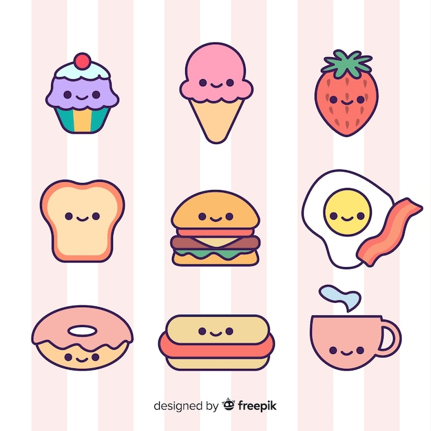 Hand drawn cute food collection Free Vector