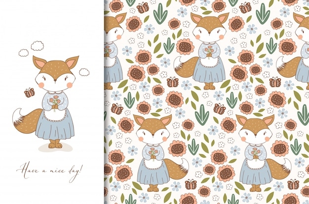 Hand drawn cute fox in apron character. kids animal card and seamless floral pattern. cartoon illustration. Premium Vector
