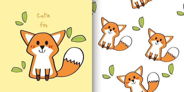 Hand drawn cute fox childish and seamless pattern Premium Vector