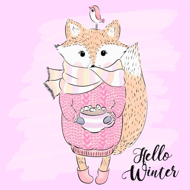 Hand drawn cute fox with little bird illustration Premium Vector