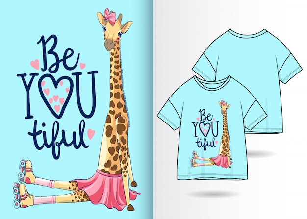 Hand drawn cute giraffe illustration with t shirt design Premium Vector