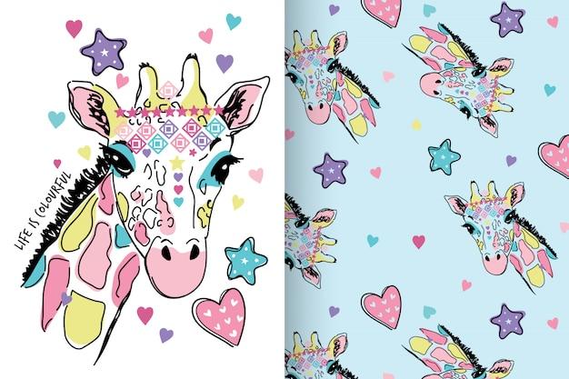 Hand drawn cute giraffe with pattern set Premium Vector