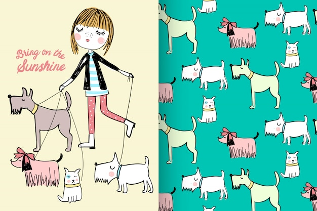 Hand drawn cute girl & dogs with pattern vector set Premium Vector