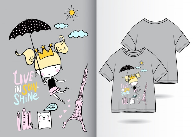 Hand drawn cute girl illustration with t shirt design Premium Vector