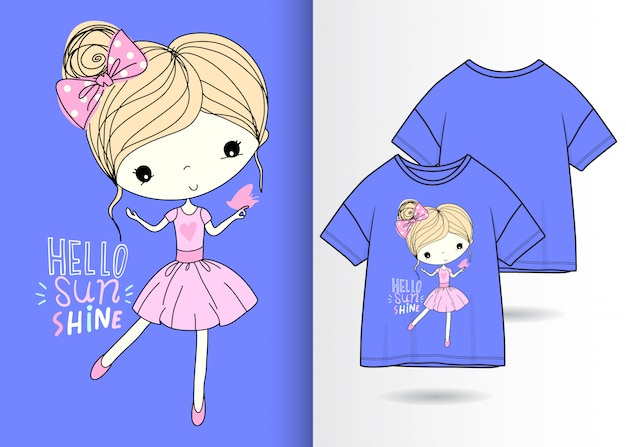 Hand drawn cute girl illustration with t shirt design Premium Vector