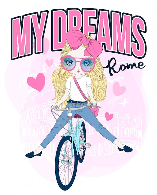 Hand drawn cute girl riding a bicycle Premium Vector