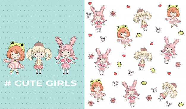 Hand drawn cute girls with pattern vector set Premium Vector