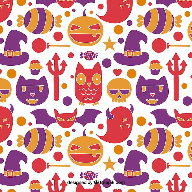 Hand drawn cute halloween pattern Vector | Free Download